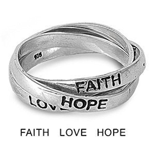 (7MM 3 Row Sterling Silver FAITH LOVE HOPE Interlock Rolling Band Ring Size 5-15 (8))