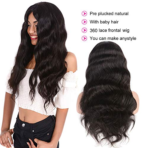 Brazilian Body Wave 360 Lace Frontal Wigs Pre Plucked With Baby Hair 150% Density Lace Front Human Hair Wigs Virgin Remy Hair For Black Women Natural Color (18 inches)