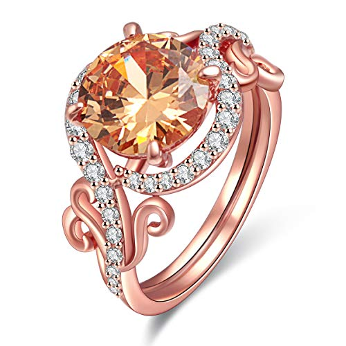 ady Rings AAA Cubic Zirconia Rose Gold Plated Ring Party Charming Elegant Jewelry Size 5 ()
