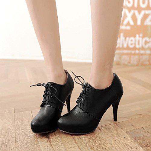 Latasa Womens Fashion Spring Fall Lace-up Platform Ankle-high Dress Boots Black mi9ASeiyT