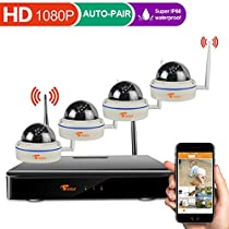[Full 1080P System] CORSEE 4CH 1080P Wireless Security System with 4 x 1080P Weatherproof Night Vision Dome Security Cameras ( Network View Clear Night Vision,Auto-Pair,No HDD)