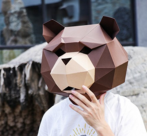 Maxleaf 3D Paper Mask Animal Head Molds DIY Halloween Party Costume Cosplay Facial Paper-Craft Kit Bear design (Coffee+Kraft)