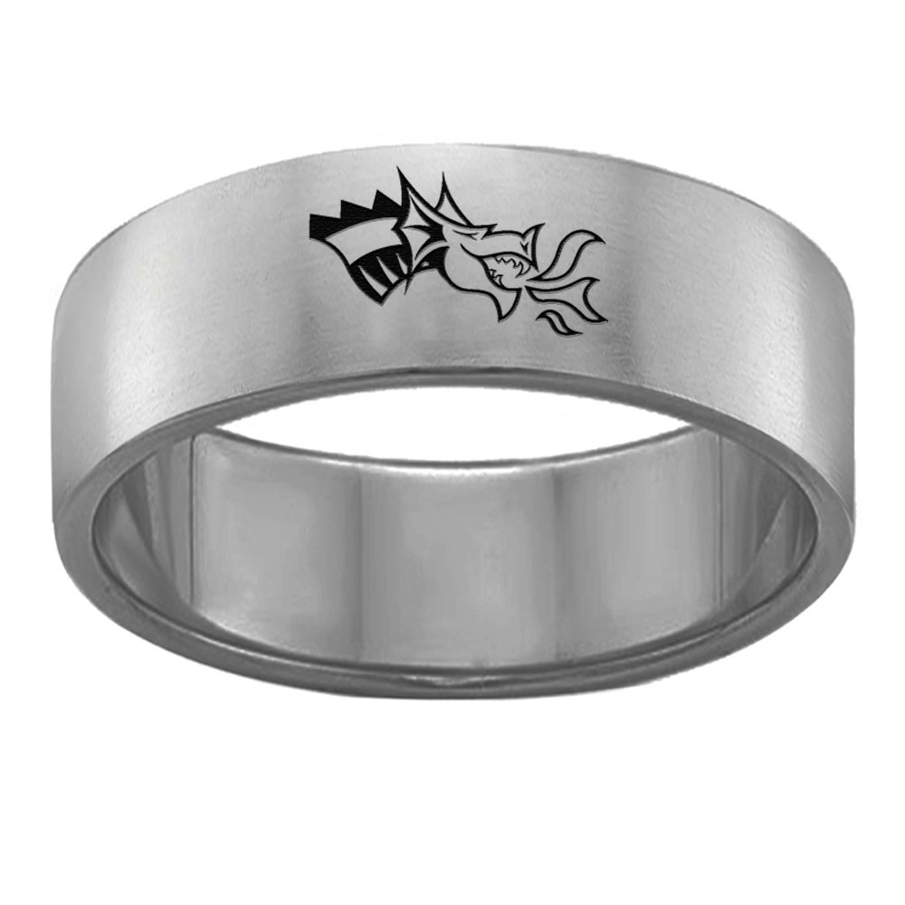 College Jewelry Drexel Dragons Single Logo Rings Stainless Steel 8MM Wide Ring Band Size 6