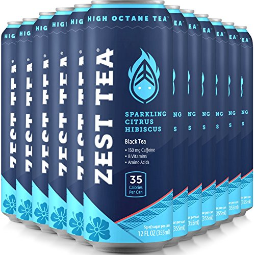 Sparkling Energy Tea - Citrus Hibiscus - Iced Tea With As Much Caffeine As Coffee And No Crash - Low Calories & Low Sugar - 12 x 12oz - 150mg Caffeine Per Can by Zest Tea