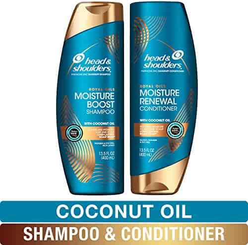 Head and Shoulders Shampoo and Conditioner, Moisture Renewal, Anti Dandruff Treatment and Scalp Care, Royal Oils Collection with Coconut Oil, 27 fl oz, Kit