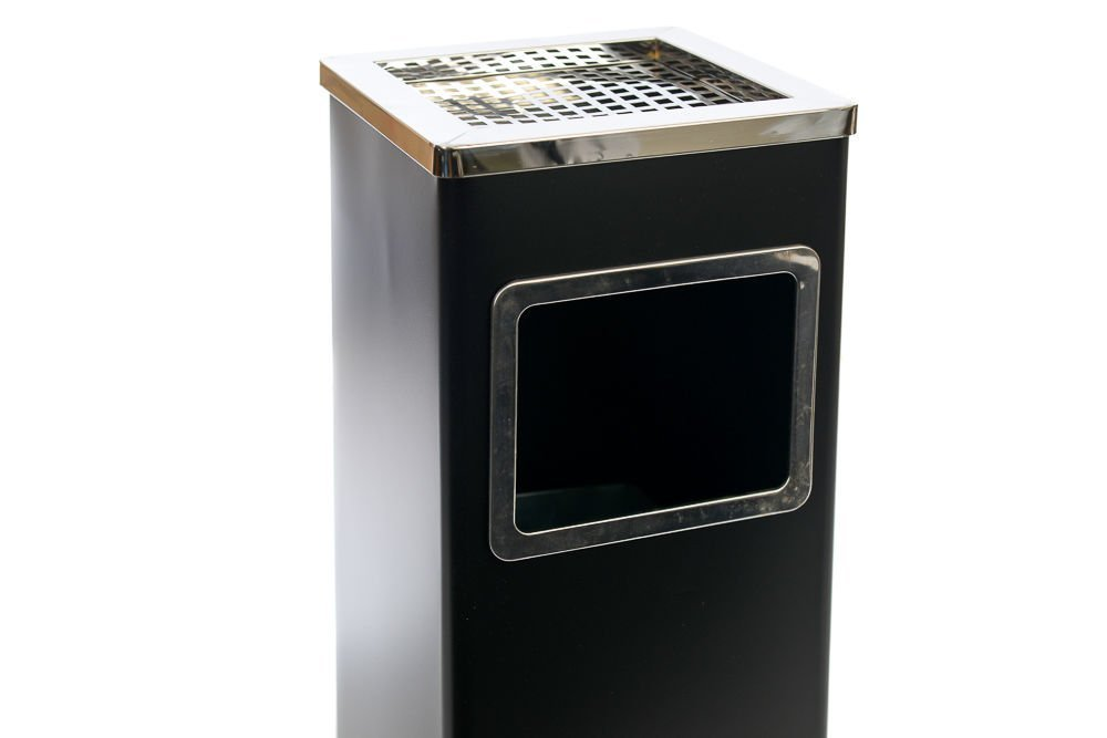 Soporte del cenicero del Cigarrillo del Cubo de la Basura del Polvo del Acero Inoxidable de la posici/ón Libre Negro METLEX - MX2075