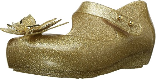 Mini Melissa Ultragirl Fly Champagne Glitter Kids Girls Ankle Hook and Loop Strap Size 9M