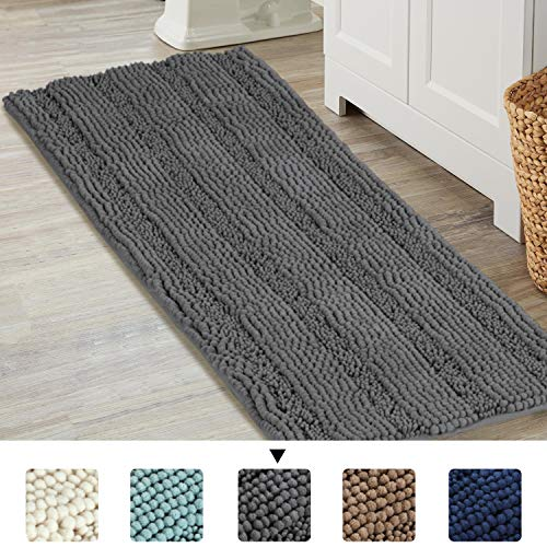 Rugs Chenille Bath - Luxurious Shaggy Chenille Bath Mat Microfiber for Hotel-Spa Tub Shower Floor Non-Slip High Absorbent Soft Large Super Soft, Plush & Absorbent, Hand Tufted Heavy Weight, Solid Gray