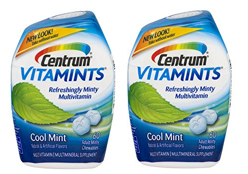 Centrum VitaMints Multivitamin/Multimineral Supplement Adult Chewables Cool Mint - 60 ct, Pack of 2