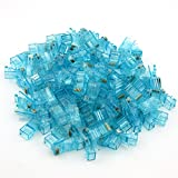 TOTOT 100 PCS Gold Plated Leads RJ45 CAT5 8P8C Crystal Network Modular Connector Cable Head Plug, Blue