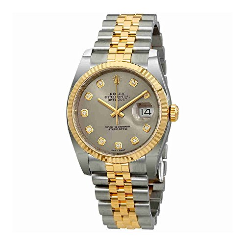 Rolex Datejust 36 Rhodium Diamond Dial Automatic Diamond Ladies Steel and 18kt Yellow Gold Jubilee Watch 116233RDJ