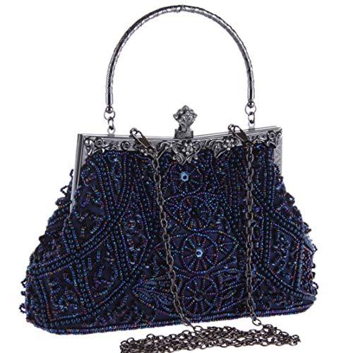 BABEYOND 1920s Flapper Clutch Gatsby Pearl Handbag Roaring 20s Evening Clutch Beaded Bag 1920s Gatsby Costume Accessories (Blue)