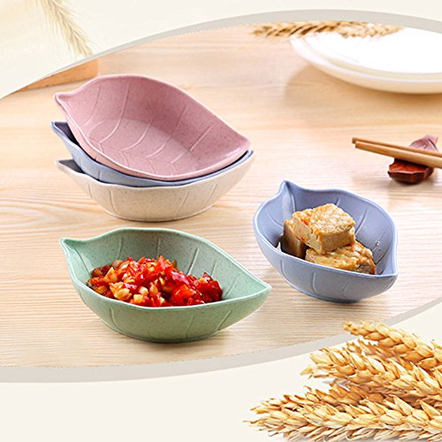 Baost Creative Leaf Shape Wheat Straw Seasoning Dish Sauce Dipping Bowls Vinegar Mini Dinnerware Plate Sauce Serving Dishes Condiment Dish for Paste, Jam, Appetizer, Snack Green by Baost (Image #4)
