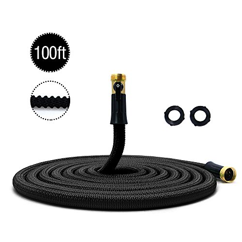 HooSeen Expandable Garden Hose, 100 ft Lightweight Water Hose With Solid Brass Connector For Home Cars Heavy Duty Commercial Use Expanding Hose