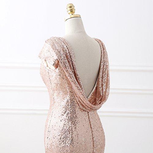 KekeHouse® Femmes Sirène Paillettes Longue Robe de soirée Dos nu Formel Bal de promo Robes de demoiselle d'honneur