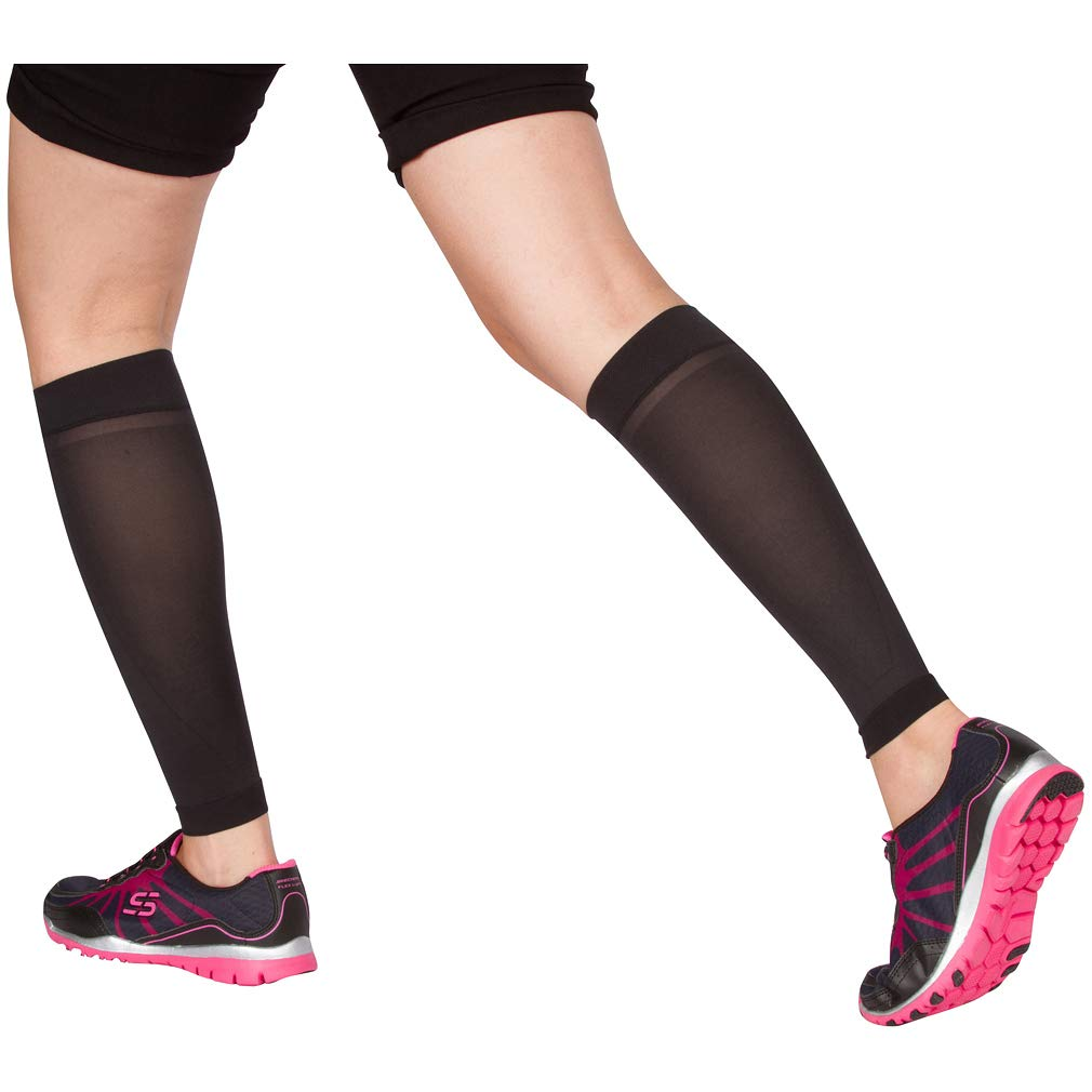 EvoMotion USA Made Sheer Microfiber Graduated Compression Calf Sleeves 10-15 mmHg - Men and Women Lightweight Recovery and Support for Shin Splints, Sports Sprains, Pain Relief 1 Pair (Medium, Black) by EvoMotion