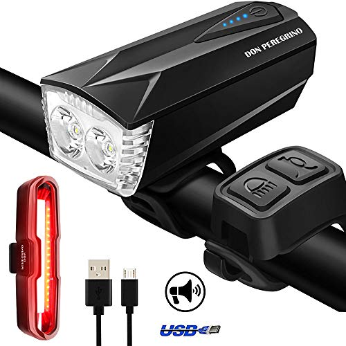 DON PEREGRINO SS1 Powerful LED Bike Lights Front and Rear Set, Waterproof 400 LM Headlight & 100 DB Horn with Ultra Bright Taillight Red/Blue USB Rechargeable