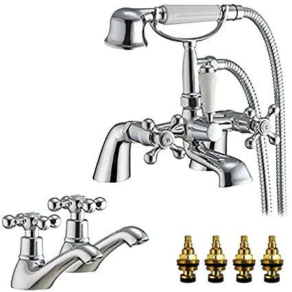 grandtapz tm traditional victorian style bath mixer tap with shower rh amazon co uk