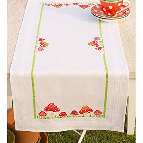 Vervaco Toadstools Table Runner Stamped Cross-Stitch Kit