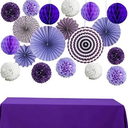 Mikash Purple Tisse Paper Pom Pom Party tions Kit Paper Fan Flower Tion Set Honeycomb Ball for Girl Shower Wedding Bridal Shower Birthday Bachelorette Décor | 8inch 10inch | Model WDDNG - 2258 -