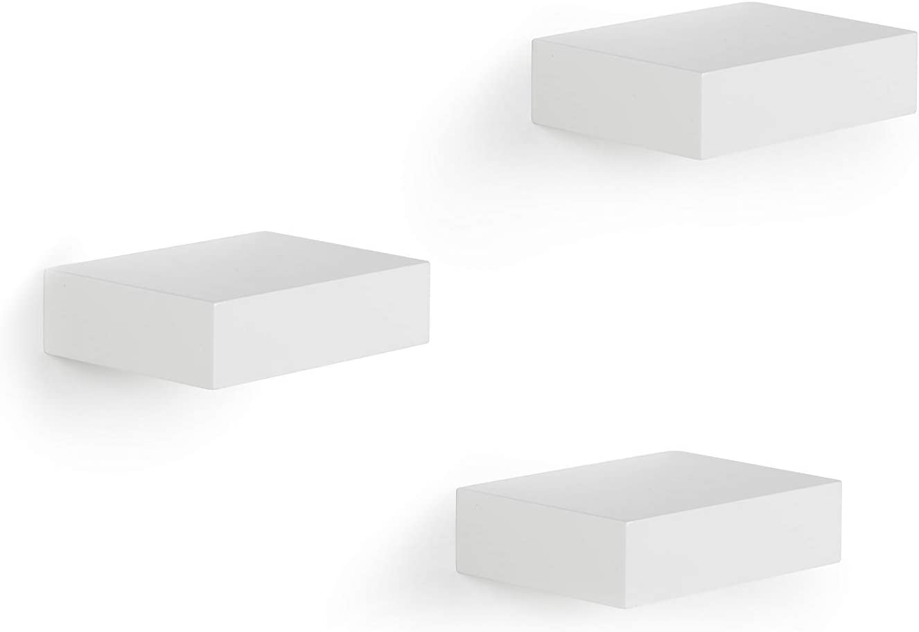 Ballucci Floating Wall Shelves, Set of 3 Decorative Display and Organizer Shelf with Hidden Bracket and Easy Installation, White