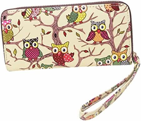 Owl Pattern Zipper Purse,Hemlock Women Girl Long Wallet Card Holder Handbag (Yellow)