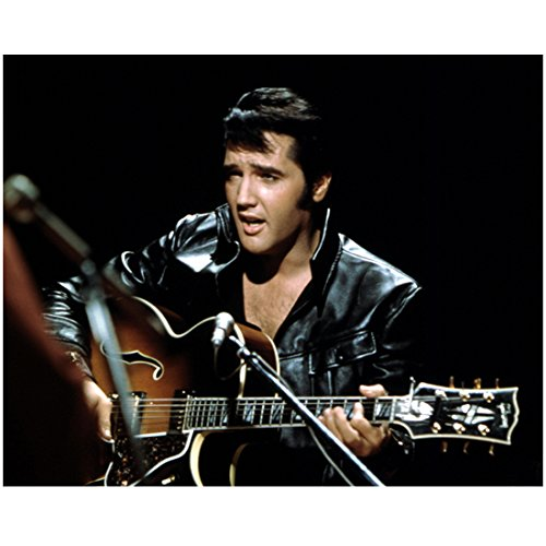 Elvis Presley 8 Inch x10 Inch photo Blue Hawaii Love Me Tender Singing & Playing Guitar Black Leather Jacket Black Background kn