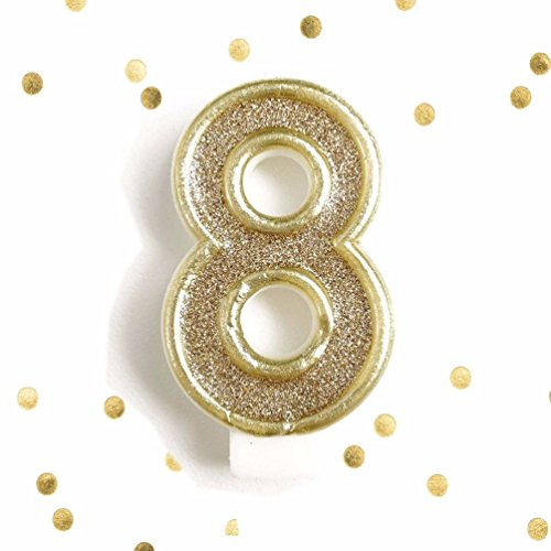 Dorigan home series Light Gold Glitter Birthday Candle Number 8 Gold White Cake Topper Eight