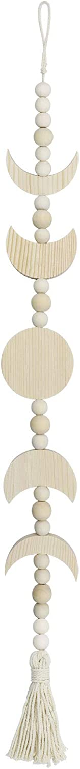 Beige Wood Moon Phase Wall Hanging, Wood Bead Garland with Tassel Boho Chic Home Decor Wall Hanging for Office Bedroom Window Wall Art Ornaments