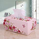 AC.Seven Butterfly Dance Tricolor Flower Resin Tissue Box Cover Square Decorative Bath Tissues Paper Napkin Holder-Modern Serviette Napkins Container