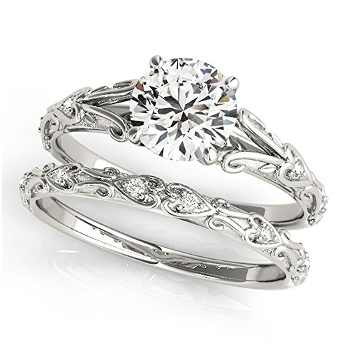 14K White Gold Unique Wedding Diamond Bridal Set Style MT51065