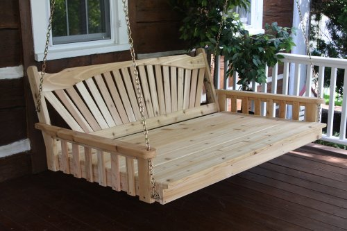 Cedar 4' Fanback Swing Bed - Oversized Porch Swing - STAINED- Amish Made USA -Oak
