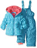 Pink Platinum Baby Girls' Infant Foil Star Printed Snowsuit, Turquoise, 18 Months