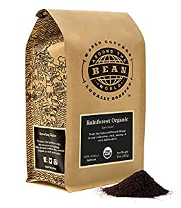 Bean Around The World Dark Roast Rainforest Organic Ground Coffee, 14 Ounces