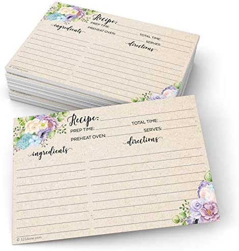 """321Done 4"""" x 6"""" Floral Recipe Cards (Set of 50) - Thick Double Sided Premium Card Stock - Made in USA - Watercolor Flowers on Kraft Look, Large Notes From"""