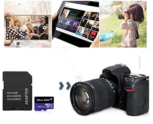 512GB Micro SD Card High Speed Class 10 Memory SDXC Card with Adapter for Phone, Tablet and PCs (512GB)