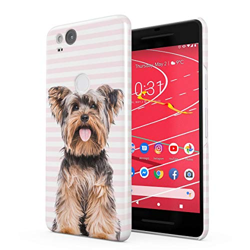 (Cute Pink Lines Yorkie Yorkshire Terrier Dog Pattern Protective Hard Plastic Snap-On Phone Case Cover for Google Pixel 2)