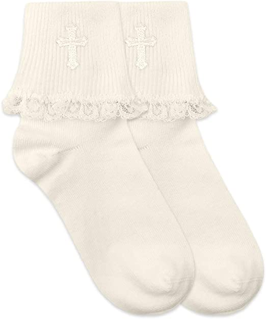 Boys White First Communion Baptism Special Occasion Socks with Cross