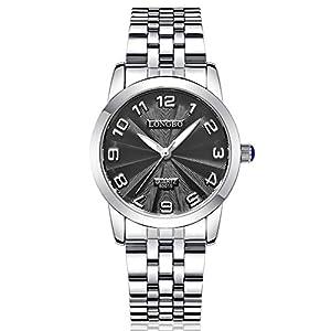 HongBoom Fashion Stainless Steel Business Watches Men's Women's Couples Quartz Watch 30M Waterproof (Women - Black)