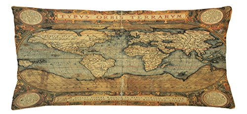 World Map Throw Pillow Cushion Cover by Ambesonne, Ancient Old Chart Vintage Reproduction of 16th Century Atlas Print, Decorative Square Accent Pillow Case, 36 X 16 Inches, Sand Brown Slate Blue
