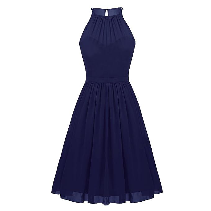 Freebily Vestidos Elegante para Boda Vestidos Corto de Gasa de Fiesta para Mujeres, Cuello Colgante