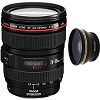 Canon 24-105mm L Lens (WHITE BOX) + High Definition Wide Angle Auxiliary Lens