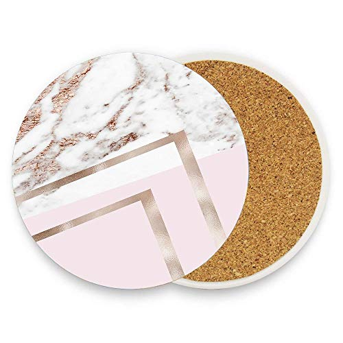 Kidmekflfr Geometric Marble - Luxe Rose Gold Edition I Drink Coasters Mats - Absorbing Ceramic Stone Coaster for Mugs Cups,with Cork Base,Classical Style 1 piece