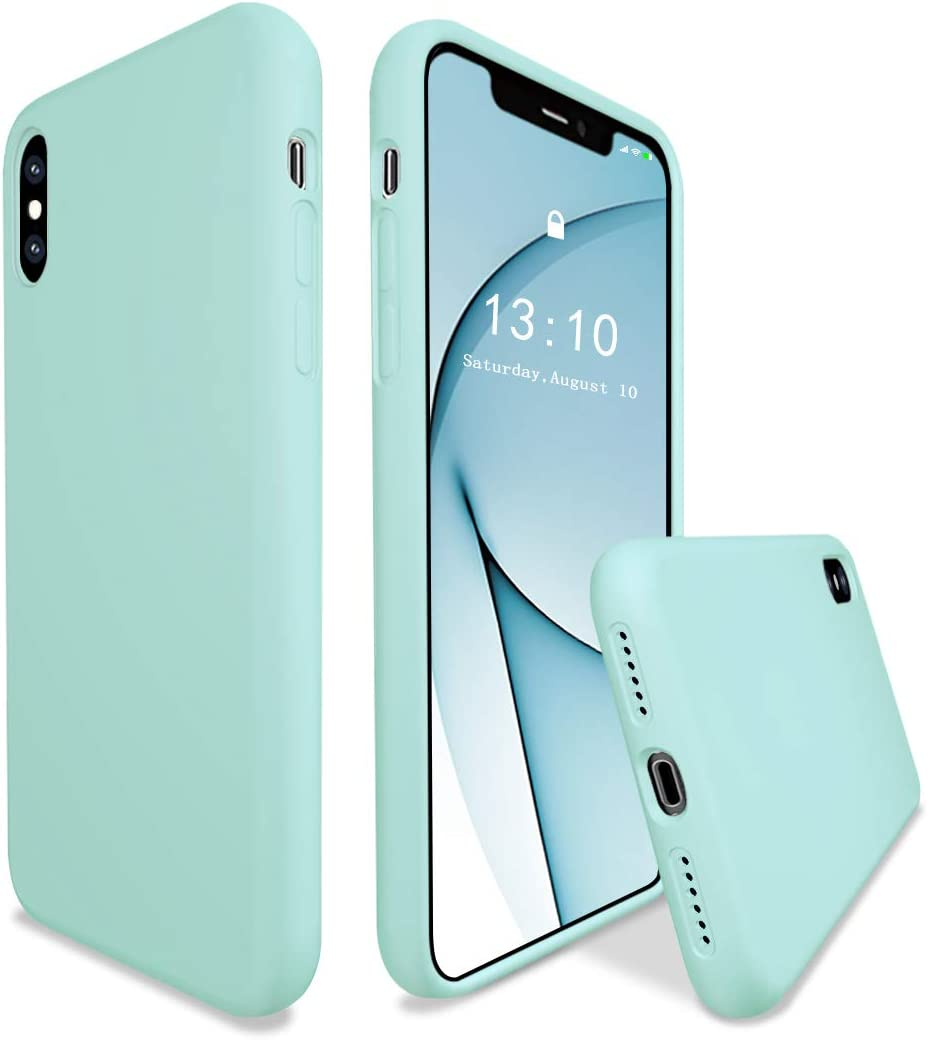 K TOMOTO Compatible with iPhone Xs Case/iPhone X Case 5.8 Inch, Liquid Silicone Gel Rubber Full Body Protection Cover with Microfiber Lining Shockproof Protective Phone Case, Turquoise
