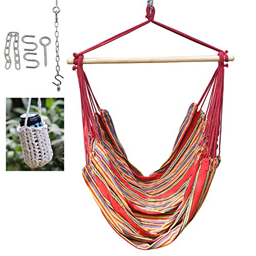 Large Brazilian Hammock Swing Chair - With Hanging Hooks Hardware and Free Handcrafted Drink Holder (Red/Stripe)