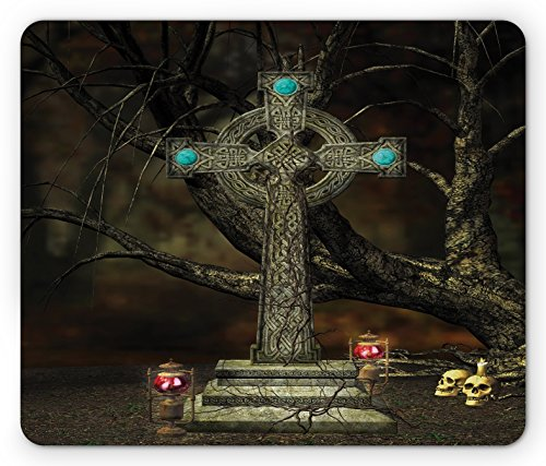 Lunarable Gothic Mouse Pad, Gothic Cross Tree Grave Skulls and Tombstone Lanterns Graveyard Night Art, Standard Size Rectangle Non-Slip Rubber Mousepad, Olive Green Aqua ()