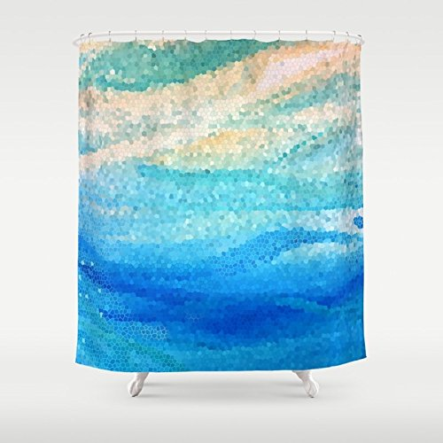 Sun Surf and Sand Mosaic Shower Curtain