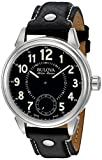 Bulova Men's 'Gemini' Mechanical Hand Wind Stainless Steel and Black Leather Casual Watch (Model: 63A120)