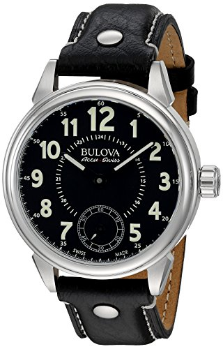 Bulova Men's'Gemini' Mechanical Hand Wind Stainless Steel and Black Leather Casual Watch (Model: 63A120)