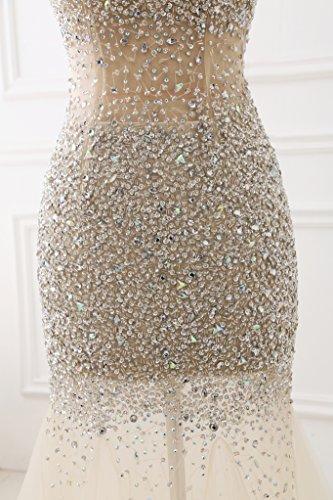 Lange Champagner Izanoy Meerjungfrau 2017 Perlen Abendkleider Ballkleider Rückenfrei Damen UwRng8E